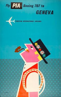 fly pia boeing 707 to geneva, pakistan international airlines - tom eckersley, 1960 Illustrations Vintage, Retro Illustration, Graphic Design Illustration, Design Illustrations, Retro Poster, Vintage Travel Posters, Vintage Airline, Vintage Ads, Vintage Graphic Design