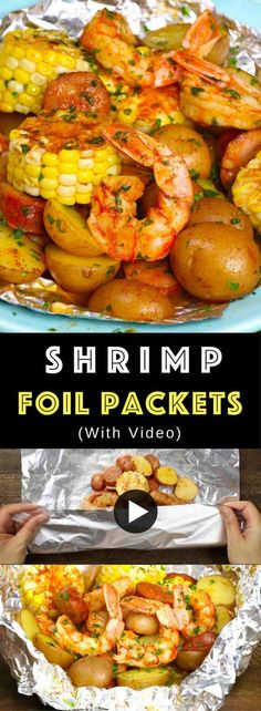20 Minute Shrimp Boil Foil Packets Recipe (with Video) | TipBuzz Shrimp Foil Packets Oven, Foil Packet Meals, Oven Shrimp Boil, Shrimp Boil Foil Packs, Shrimp In The Oven, Grilled Foil Packets, Foil Pack Dinners, Baked Shrimp, Cajun Shrimp Boil Recipe