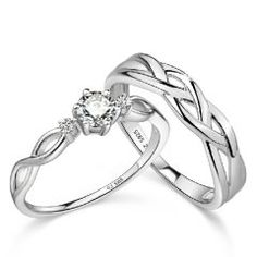 Weave Our Love 925 Silver Couples Rings