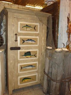Amish Painted Saltwater Oarfish Cabinet