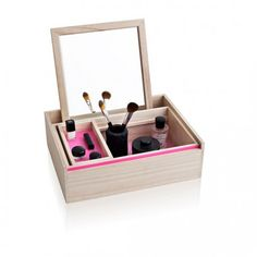"""The Balsa Box by NOMESS Copenhagen is perfect for jewellery, make up or even a small collection of craft supplies. The box has been designed with simplicity and a Nordic feel in mind. The top becomes a mirror and leans nicely inside the box, which is useful whilst trying on earrings or putting on makeup. The interior boxes have a wash of hot pink that really pops next to its simple wooden container.  """"A place for everything and everything in its place""""  Size: 42.5 x 32.7 x 13 cm  Wood: ..."""