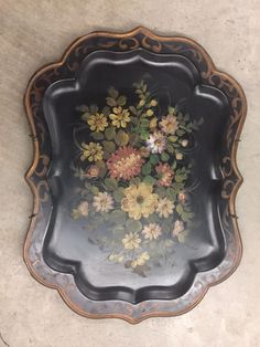 scenic Toleware Tray Responsible Amazing Decoupage Signed Antique Massive