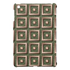 Copper Solid Squares #iPad #Case - Squares of #copper against a #green snakeskin background.