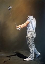 Golfing Greats are painted by the celebrated Sporting Artist, Mark Robinson. Original Oils, Acrylics and Watercolors are available, as affordable prints from the paintings as well as originals from the collection. Robinson Golf Art was set up to promote M Golf Clip Art, Golf Art, Golf Painting, Sports Painting, Luke Donald, Dubai Golf, Golf Images, Thing 1, Sports Art
