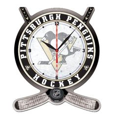 NHL Pittsburgh Penguins High Definition Clock - Hockey Stick and Puck Hockey Bedroom, Cheap Designer Bags, Flyers Hockey, Lets Go Pens, Pittsburgh Penguins Hockey, Pittsburgh Sports, Philadelphia Flyers, Sports Equipment, High Definition