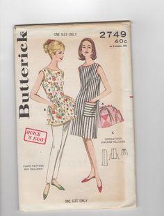 Vtg BUTTERICK Apron Pattern  1960s #2749 One Size
