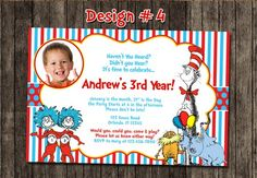 Cat in the Hat Dr Seuss First Birthday Party Photo Invitations