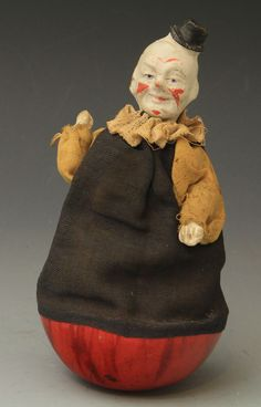 Bisque & fabric clown roly poly, German 1920s