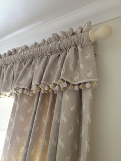 35 Trendy Ideas For Bedroom Curtains Ideas Window Treatments Fabrics Cottage Curtains, Curtains With Blinds, Curtain Fabric, Drapes Curtains, Bedroom Curtains, Valances, Drapery, Pom Pom Curtains, Curtain Designs