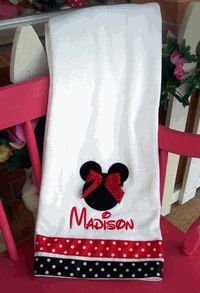 Chas this is for you! I thought of the PJD's bathroom, you could so make this with a plain white towel. Walmart has the actual Mickey ribbon and would make it even more cute! Mickey Bathroom, Bathroom Kids, Sewing Ideas, Sewing Projects, Decor Ideas, Craft Ideas, White Towels, Xmas Presents, Crochet Baby Hats
