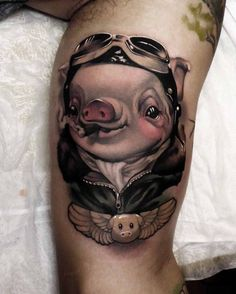 pig tattoo aviator