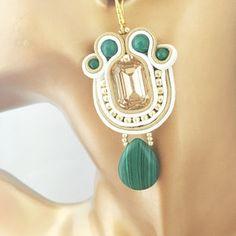 Chandelier Soutache Earrings, Green Soutache Earrings, Gold Soutache Earrings… Soutache Earrings, Drop Earrings, Chandelier, Green, Gold, Jewelry, Fashion, Moda, Candelabra