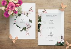 Floral invitations for a spring wedding. Perfect match between colors and design