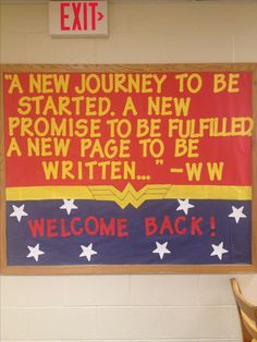 My welcome back/Wonder Woman Bulletin Board! You're going to do WONDERful on the MAP My welcome back Superhero Bulletin Boards, Superhero Classroom Theme, Library Bulletin Boards, Back To School Bulletin Boards, Bulletin Board Display, School Classroom, Classroom Themes, Classroom Organization, Welcome Back To School