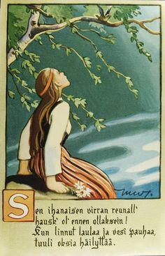 An illustration by Martta Wendelin, a Finnish artist Illustrators, Illustration, Fairy Tail Pictures, Postcard, Picture Book, Childrens Prints, Art, Folk, Vintage Illustration