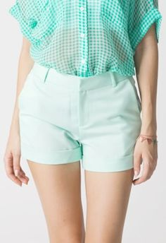 Mint Shorts with Turn Ups http://www.loveitsomuch.com/