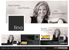 Facebook Banner. Logo. Business Cards front & back. Tina Roy, Real Estate Broker. Remo Valente Real Estate (1990) Limitied, Brokerage. www.mylakeshorerealestate.com