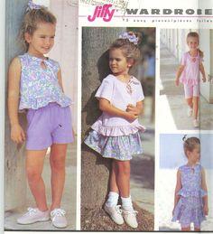Sewing Pattern Simplicity 7850 Girls' Shirt Skirt and Shorts Size 5-6x Uncut - Children