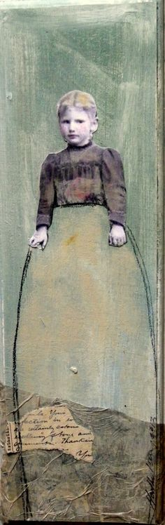 Maisie  a sweet small tall girl painting on wood by MaudstarrArt