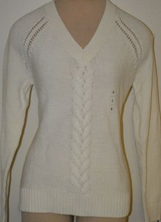 Women's Old Navy Ivory Long Sleeve V-Neck Cable Sweater Top Sizes L, XL, 2XL #OldNavy #VNeck