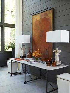Entry // Modern // Console Table // Artwork // Shiplap Walls // via McAlpine Booth & Ferrier Interiors Traveler's Ridge - McAlpine Booth & Ferrier Interiors