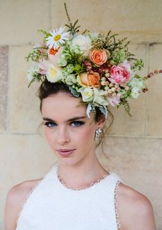 2013 Wedding competition finalist entry by Affair With George- love this floral headpiece for a summer garden wedding! Beach Wedding Flowers, Romantic Flowers, Wedding Bouquets, Bridal Flowers, Flower Band, Flower Show, Flowers For You, Flowers In Hair, Gun Wedding