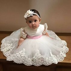 Pearl Beaded Alencon Lace Gown With Matc - Diy Crafts - maallure Infant Baptism Dresses, Baby Christening Dress, Baby Pageant Dresses, Baby Girl Party Dresses, Dresses Kids Girl, Baptism Gown, Baby Birthday Dress, Birthday Dresses, Baby Blessing Dress