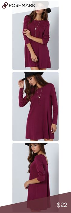 """PRICE ⤵️‼️Chic Shift Dress/Tunic! Med & Lg!!! This casual shift dress in Deep Violet color will give you street style chicness and comfort with its timeless shift dress silhoutte. The upper bodice comes in classic round neck and long sleeves. Pair this piece with your fave jeggings or wear as is for a much relaxed look. Regular Fit. Material 5% Spandex 95% Rayon. Bust: Sm-36.6"""", Med-38.2"""", Lg-39.8"""" Boutique Dresses Midi"""