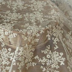 """Floral See through 2 Stretch Silky Baby Blue Lace Fabric 52/""""132cm w x 1m,40/"""""""