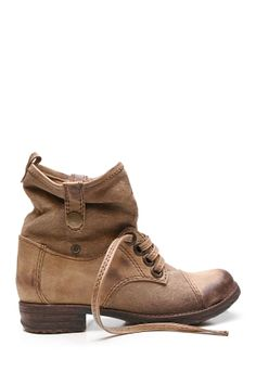 """Too Fixate Slouched Bootie in khaki by Two Lips $70 - ($38) ($39) ($29) ($31) $28 @HauteLook. - Round faux leather cap toe - Lace up vamp with contrast canvas - Contrast canvas shaft - Slouch straps with snap closure at opening - Back pull-on tab - Approx. 7.5"""" shaft height, 10"""" opening circumference  - Approx. 0.25"""" heel - Synthetic and mandmade upper, rubber sole"""