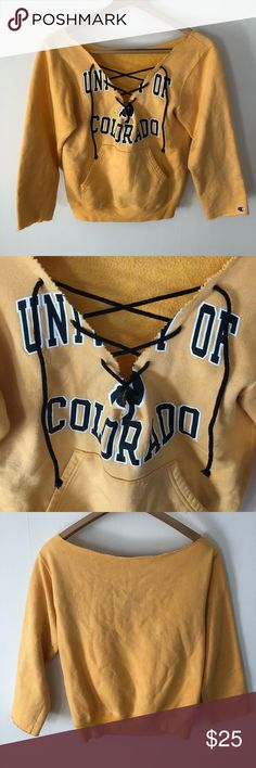 University of Colorado Boulder Lace-up Sweatshirt Handmade unique college sweatshirt with lace-up detail. Minor signs of wear, some spots on the front pocket, not very noticeable. Champion Tops Sweatshirts & Hoodies