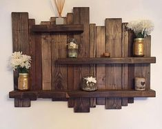Floating distressed shelves wall mounted shelf by Allthingzrustic – Schwimmendes Wandregal von Allthingzrustic – Rustic Wall Shelves, Solid Wood Shelves, Wood Wall Shelf, Floating Wall Shelves, Wall Mounted Shelves, Rustic Walls, Pallet Wall Shelves, Palet Shelf, Wooden Planks On Wall