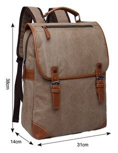 Kenox Khaki Canvas Vintage College Backpack School Bookbag Laptop Backpack for Pc Macbook Pro Fits All Ipad Generations Backpack Travel Bag, Canvas Backpack, Laptop Backpack, Leather Backpack, Tote Bag, Laptop Bags, Travel Bags, Mochila Nike, Back Bag