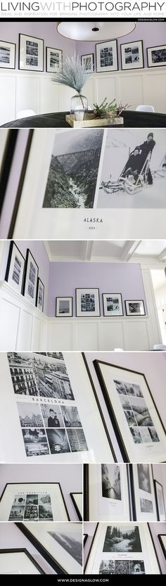 This wall gallery is the perfect combination of gorgeous frames and beautifully designed collages. All from Design Aglow!