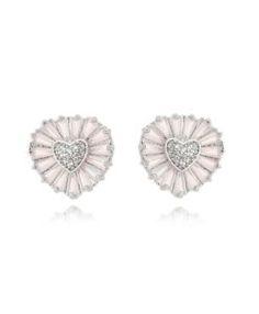 brinco sofisticado com zirconias baguete em formato de coração semi joias da moda
