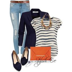 Casual - Striped tee, blue blazer, jeans, orange accessories