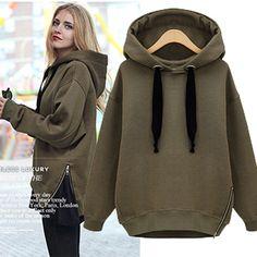 32e89f995b30 2014 New Zipper Women s Fashion Loose Elegant Casual Fleece Thickening Plus  size Pullover Hood Sweatshirt Warm