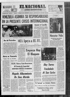 Reacción de Venezuela al bloqueo aeronaval de EU a Cuba. Publicado el 24-10-1962