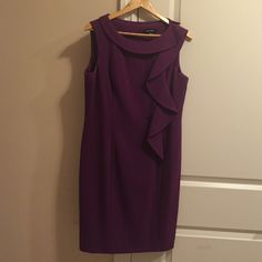 Short purple dress; Ellen Tracy; Size 12 This is an elegant short purple dress to wear to any event! Size 12; Fits true to size; armpit had deodorant stains which should be cleaned with a simple dry clean. Let me know if you have any questions! Ellen Tracy Dresses Midi
