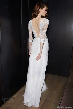 Wedding Inspiration. The Bridal Collective Blog. 3/4 sleeve gown. Back view, Mira Zwillinger.