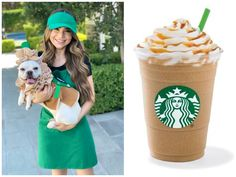 Rosanna Pansino dressed as 'Barista' and Coconut as 'Puppuccino' Costume