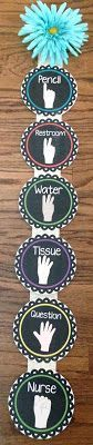 """Use """"secret"""" hand signals to have students SHOW you what they need. Each finger means something different, so the teacher can differentiate what kids need when there are 7 hands raised! Great classroom management technique for nonverbal communication."""