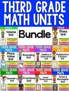 3rd Grade Math Units - Get a complete math unit to teach ALL of the third grade math Common Core Standards. Units include performance tasks, printables, games, and more! $