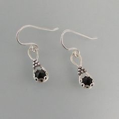 Modern Victorian Rose Cut Black Spinel Earrings handcrafted from sterling silver — Kryzia Kreations: Nature, mythic, vintage style artisan jewelry  #blackspinelearrings $85.00