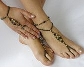 Set of 4 - Barefoot Sandals - Anklets - Arm Slave Bracelets in  Green  and Peacock Rainbow  Glass Beads