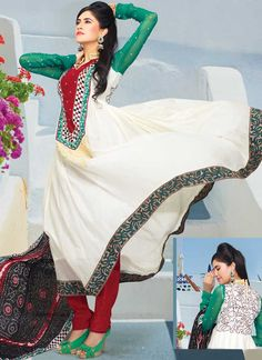 Ultimate collection of embroidered suits with fabulous style.   The dazzling off white churidar suit have amazing embroidery patch work is done with resham and stone work.   Beautiful embroidery work on kameez is stunning.   The entire ensemble makes an excellent wear.   Contrasting red churidar and black dupatta is available with this suit.   Slight Color variations are possible due to differing screen and photograph resolutions.