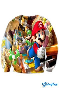 Super Mario Crewneck - Shop our entire collection of all-over-print apparel! www.getonfleek.com