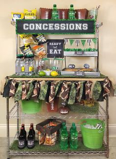 Ready for the BIG GAME? This Football party plan is now available on Enjoius. Recreate this concession stand with simple set up instructions, printables, and everything you need for the perfect super bowl party! Designed by. Football Party Decorations, Football Party Foods, Football Parties, Flag Football Party, Football Names, Football Humor, Football Pictures, Football Shirts, Football First Birthday