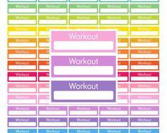 Printable Workout Stickers Workout Planner Stickers Printable Digital Download Stickers for Erin Condren sticker Mambi Happy Planner Rainbow by EnjoyPlanning on Etsy