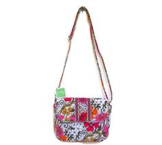 """Rachel in Tea Garden.  Magnetic flap closure, gusseted construction, 57"""" adjustable strap, purse size is 8 3/4"""" x 6 3/4"""" x 3"""".  Can be used as a cross-body handbag."""